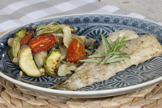 Shi Drum fillet baked with vegetables