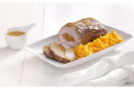 Pork stuffed with apricots, sweet potato puree, and orange and ginger sauce