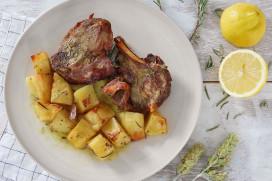 Roast goat with mountain tea, fresh herbs and potatoes