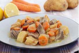 Lemon beef stew with potatoes and carrots