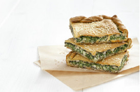 "Spinach & cheese pie with feta cheese and herbs with ""fillo"" pastry thick sheet"